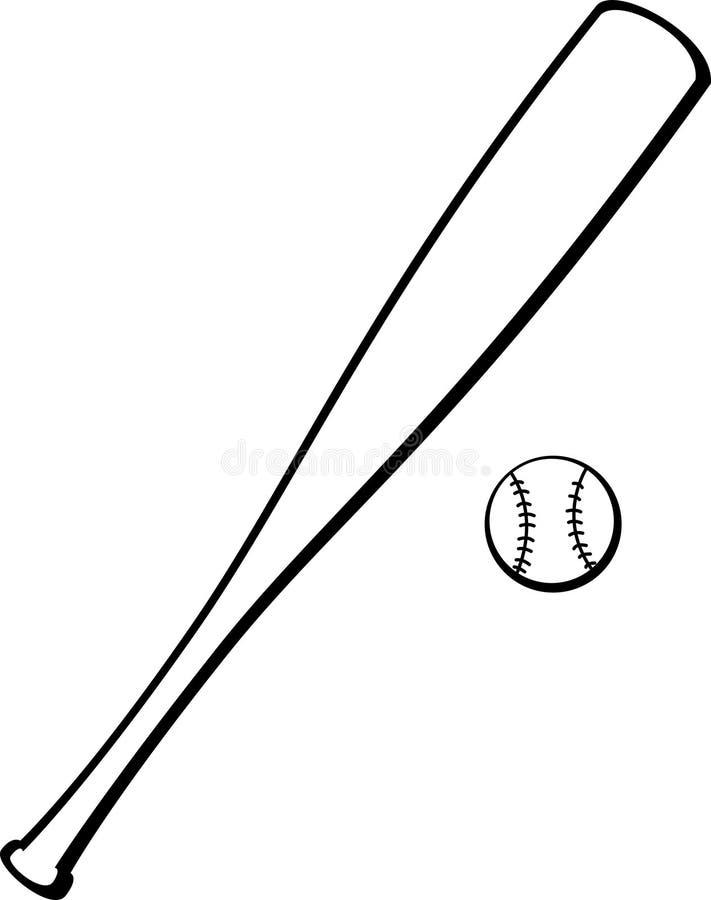De knuppel en de bal van het honkbal royalty-vrije illustratie