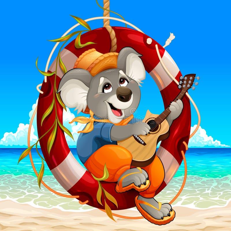 De koala speelt de gitaar op het strand royalty-vrije stock afbeeldingen