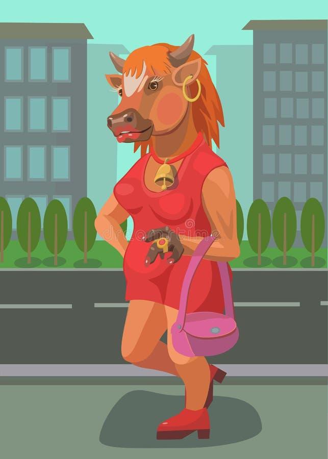 De koe die zich op de weg bevinden die auto's tegenhouden royalty-vrije stock fotografie