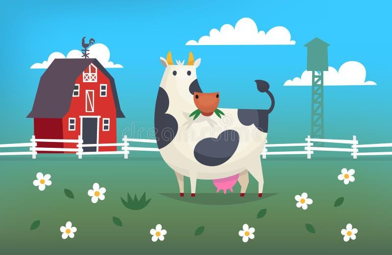 De koe eet gras op een landbouwbedrijf royalty-vrije illustratie