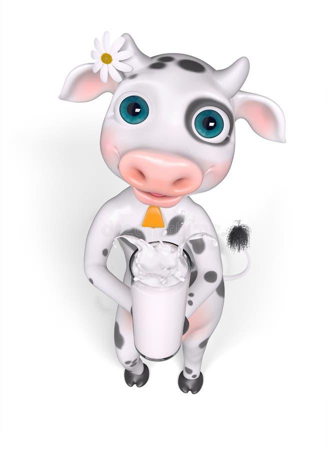 De koe van het beeldverhaalkarakter houdt glas van melk het 3d teruggeven stock illustratie
