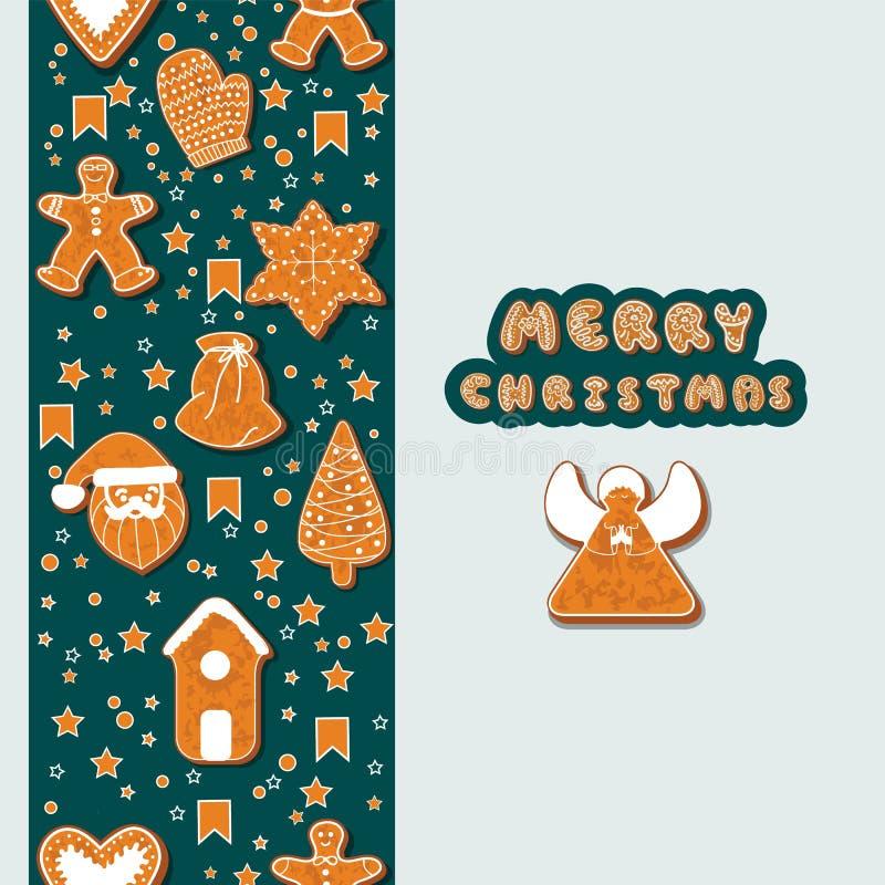 De koekjes die van de Kerstmispeperkoek een rechthoekig kader maken Vector illustratie De gelukkige affiche van de de Wintervakan royalty-vrije illustratie
