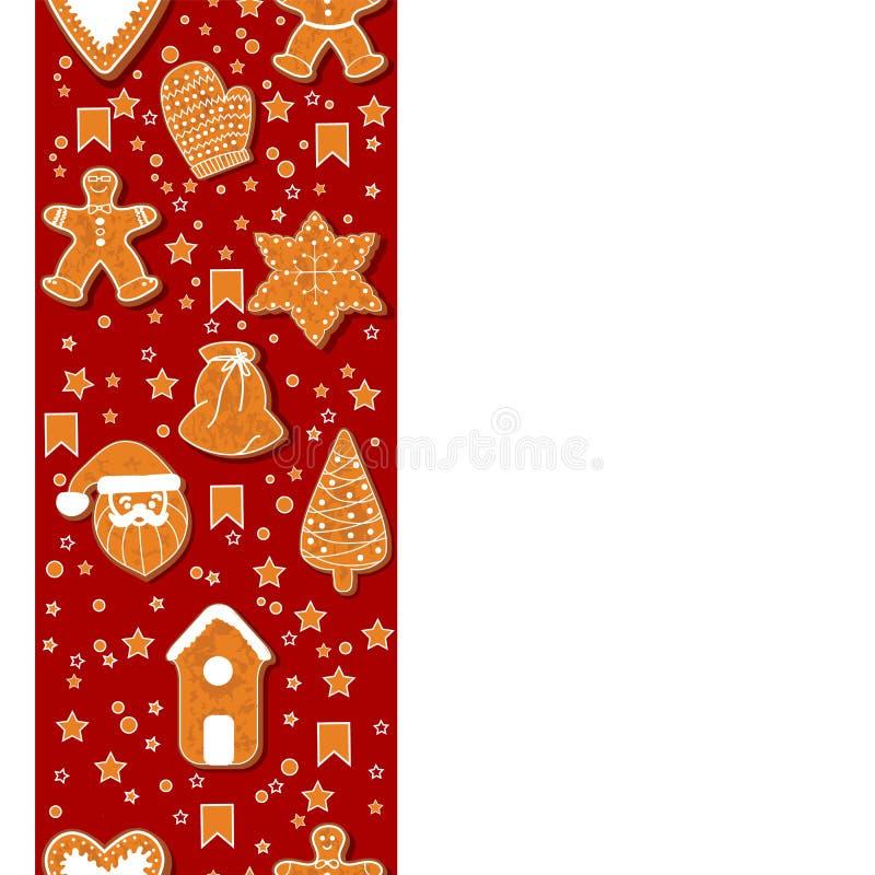 De koekjes die van de Kerstmispeperkoek een rechthoekig kader maken Vector illustratie De gelukkige affiche van de de Wintervakan vector illustratie