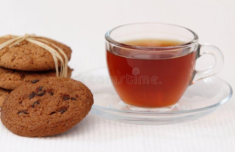 De koekjes en de thee van de haver royalty-vrije stock afbeelding