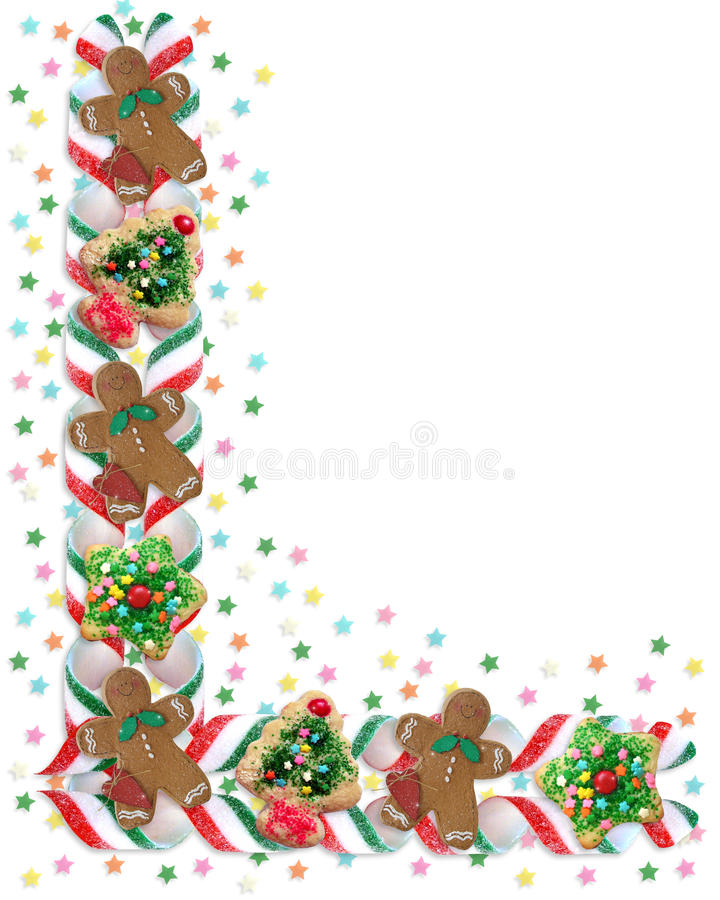 De Koekjes en het Suikergoed van de Grens van Kerstmis stock illustratie