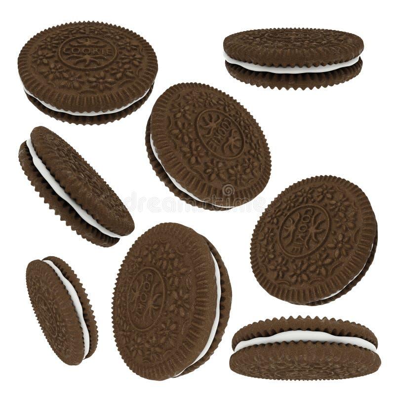 De koekjes van de chocoladesandwich op witte achtergrond worden geïsoleerd die stock illustratie