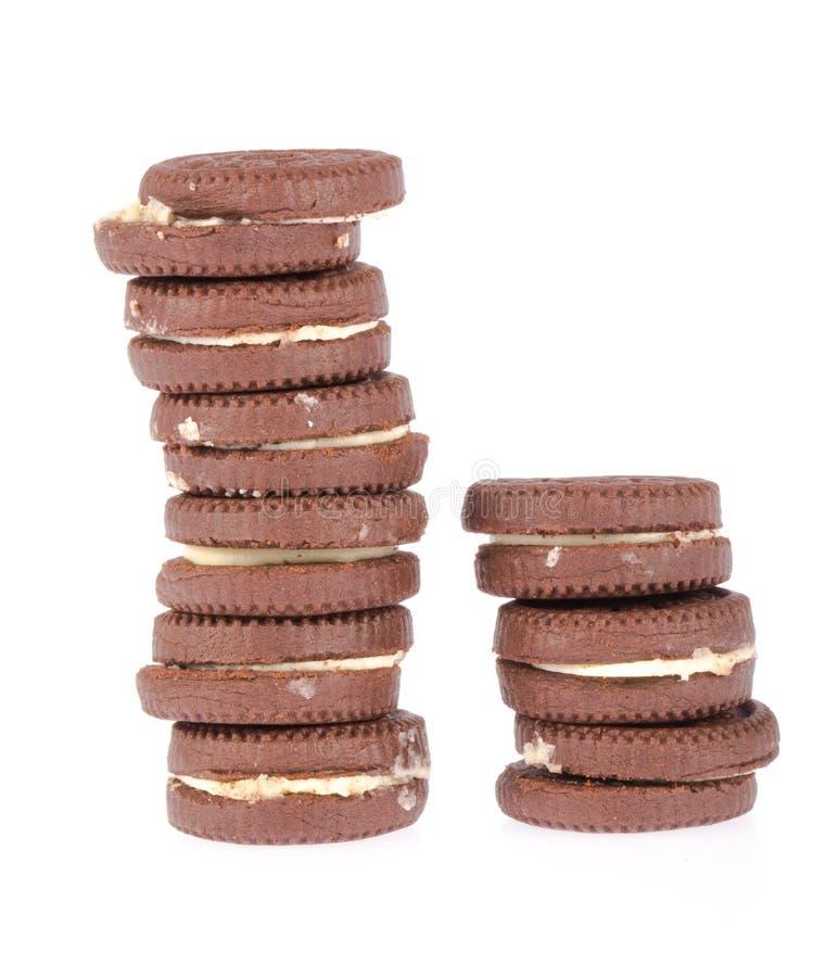 De koekjes van de chocolade met room het indienen royalty-vrije stock foto's
