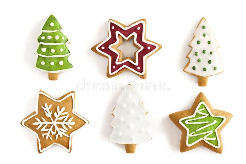 De koekjes van de Gember van Kerstmis. achtergrond royalty-vrije stock foto