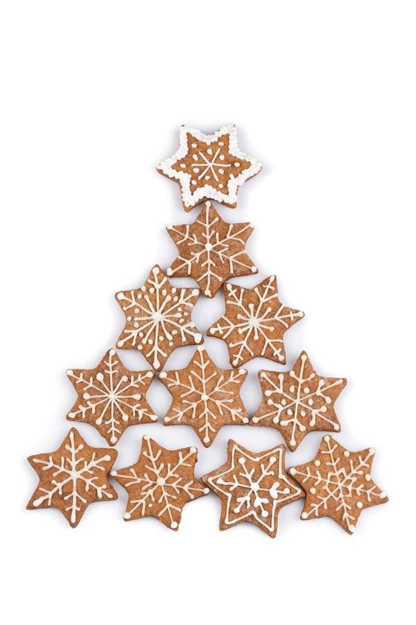 De koekjes van de Kerstmispeperkoek van de stervorm stock foto's