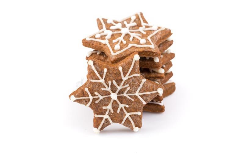 De koekjes van de Kerstmispeperkoek van de stervorm stock afbeelding