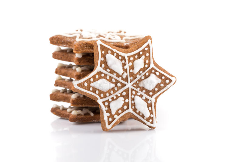 De koekjes van de Kerstmispeperkoek van de stervorm stock fotografie