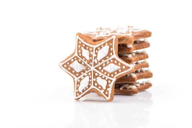 De koekjes van de Kerstmispeperkoek van de stervorm stock foto