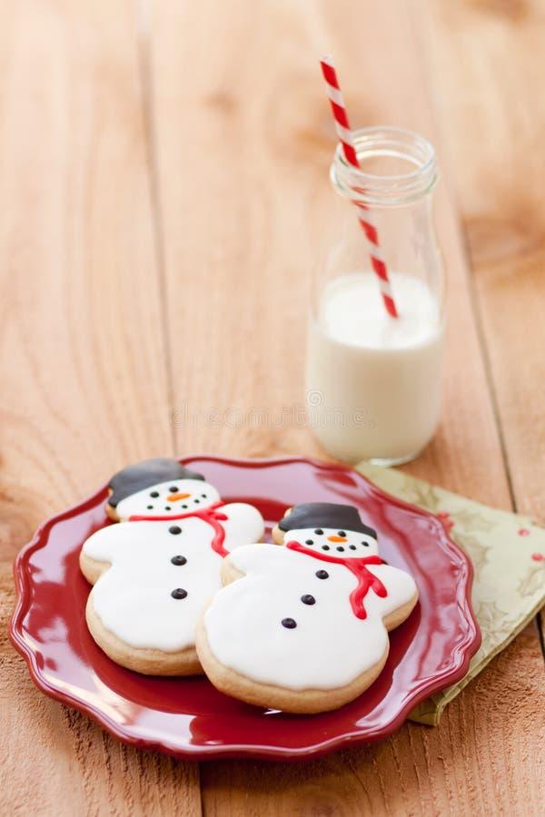 De koekjes van de melk en van Kerstmis royalty-vrije stock foto's