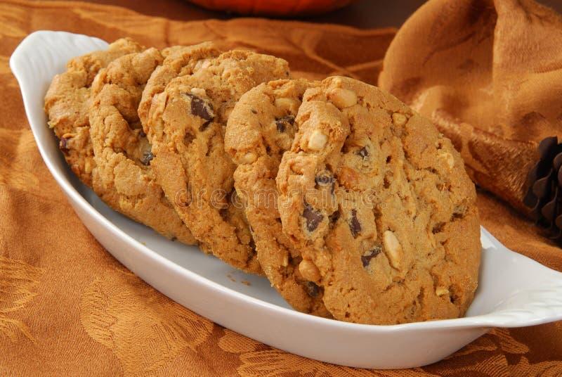 De koekjes van de pindakaaschocoladeschilfer stock afbeelding