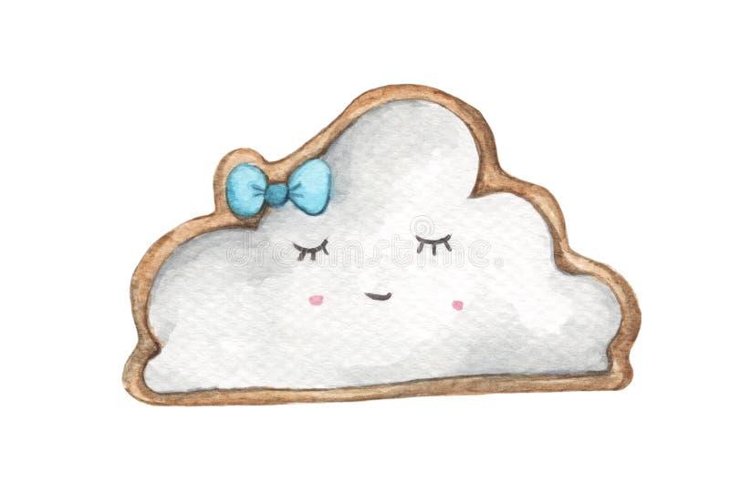 De koekjes van het glimlachgezicht in de vorm van wolk en blauwe boog royalty-vrije illustratie