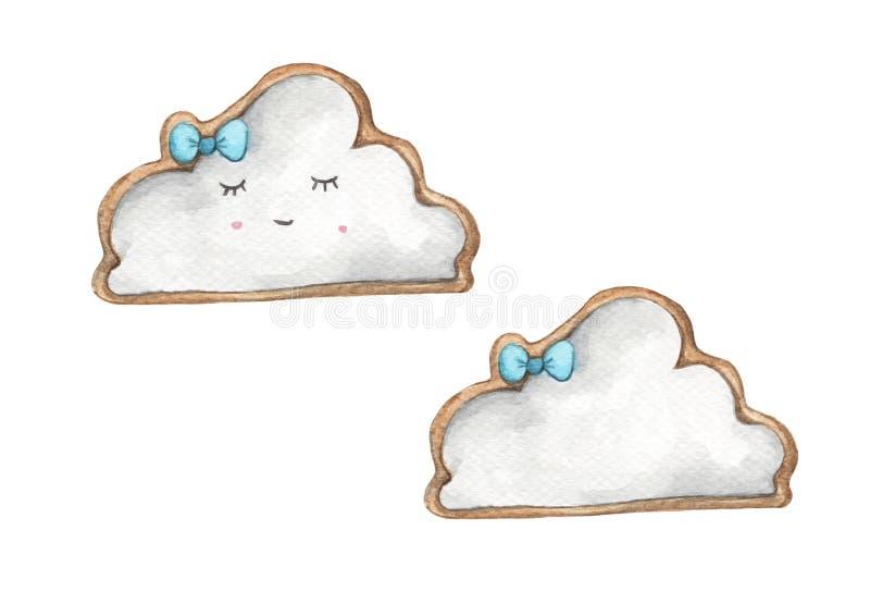 De koekjes van het glimlachgezicht in de vorm van wolk en blauwe boog stock illustratie