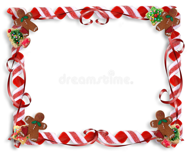 De Koekjes van Kerstmis en het Frame van het Suikergoed stock illustratie