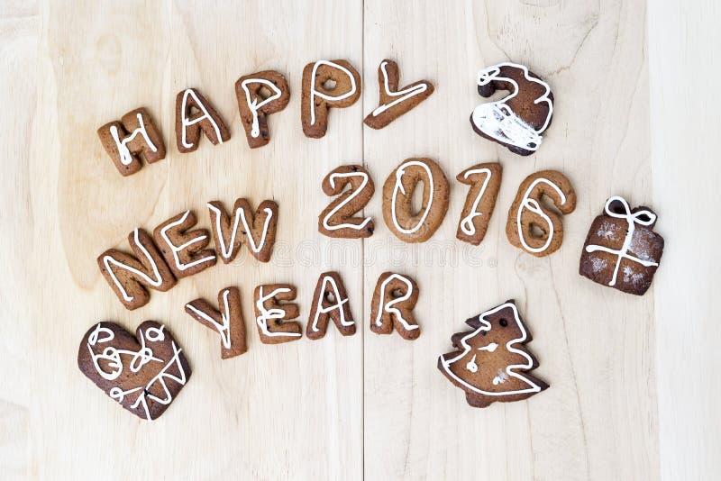 De koekjes van Kerstmis Gelukkig Nieuwjaar 2016 stock fotografie