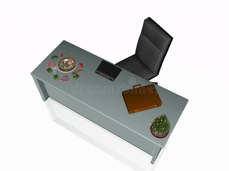 De koekjes van Kerstmis op bureau. vector illustratie