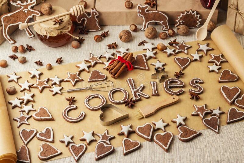 De koekjes van Kerstmis Uitstekende stijl Kerstmisdecoratie - brief royalty-vrije stock foto