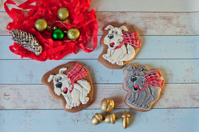 De koekjes van de Kerstmispeperkoek in vorm van honden die dichtbij kleurrijke decoratie leggen Hoogste mening royalty-vrije stock fotografie