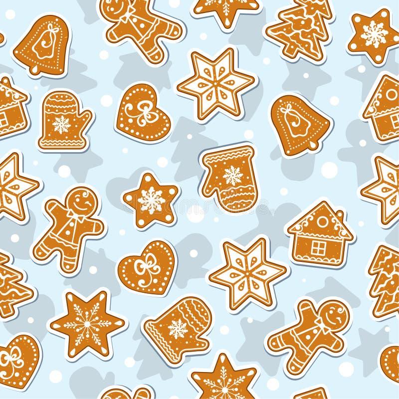 De Koekjes van krabbelskerstmis Peperkoek - Vector Naadloos patroon Kan als Groetkaart of Dekking worden gebruikt royalty-vrije illustratie