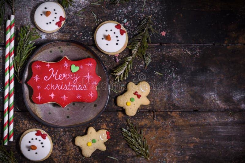 De koekjes van de peperkoekvakantie stock afbeeldingen