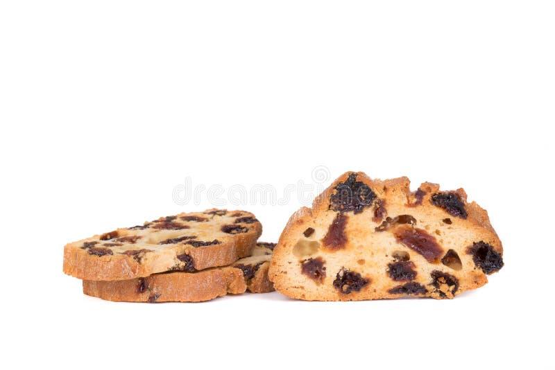 De koekjeskoekjes van rozijnenbeschuiten op witte achtergrond worden geïsoleerd die royalty-vrije stock fotografie