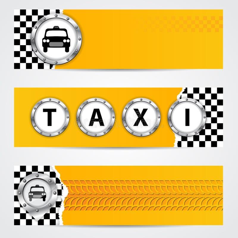 De koele die banner van het taxibedrijf met metaalelementen wordt geplaatst stock illustratie