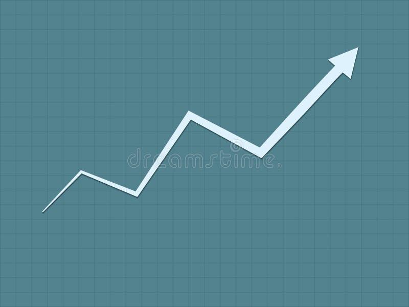 De koele en eenvoudige blauwe stijgende lijngroei voor succesgrafiek voor zaken en financiële vooruitgang met zigzaglijn royalty-vrije illustratie