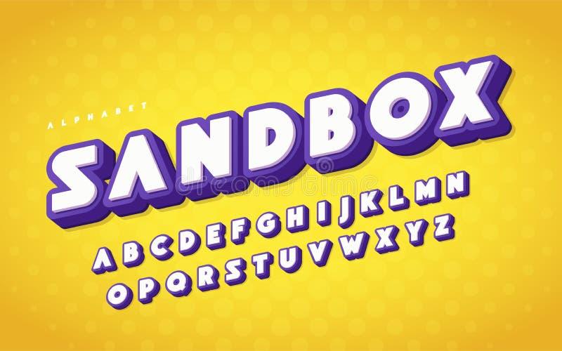 De koele en grappige Engelse 3d brieven van het alfabetbeeldverhaal Vector illustratie stock illustratie