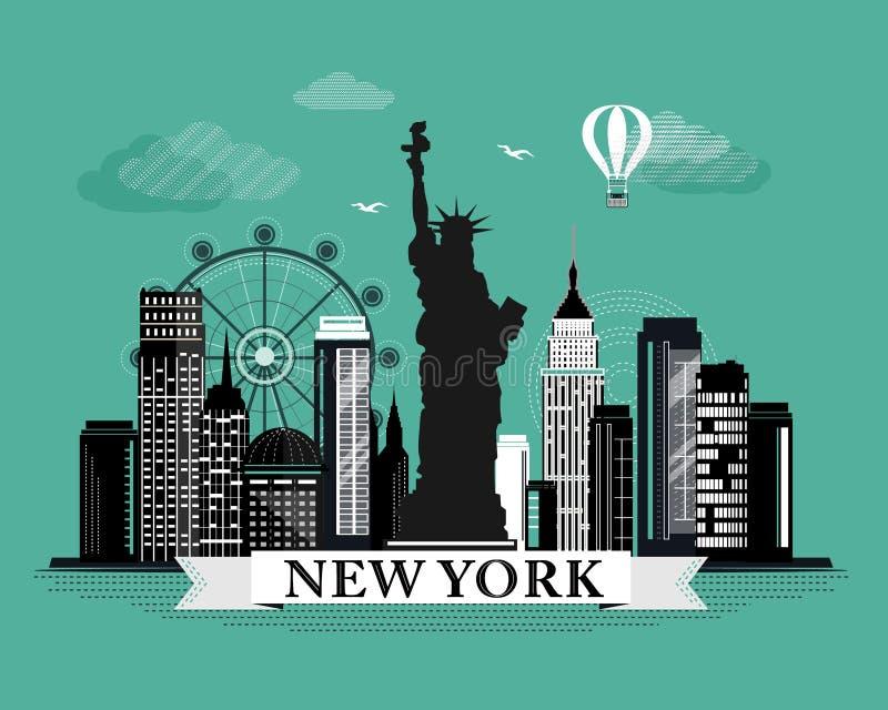 De koele grafische affiche van de de stadshorizon van New York met retro het kijken gedetailleerde ontwerpelementen Het landschap stock illustratie