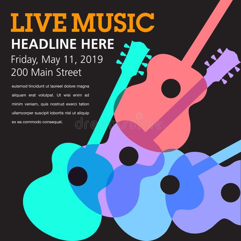 De koele levende akoestische gitaar toont grafisch vector illustratie