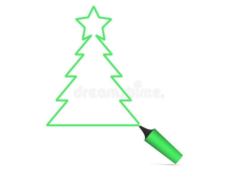 De Koele Vector van de Pen van de kerstboom stock illustratie