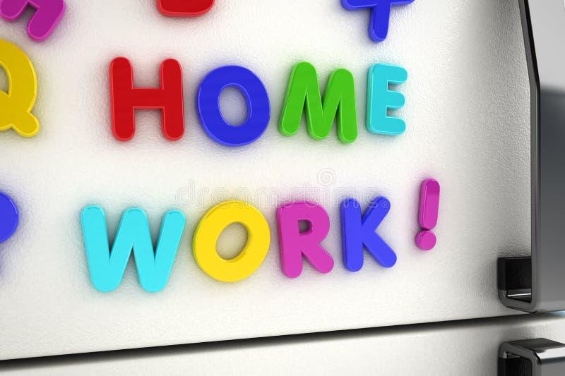 De koelkastmagneten van het huiswerk stock illustratie