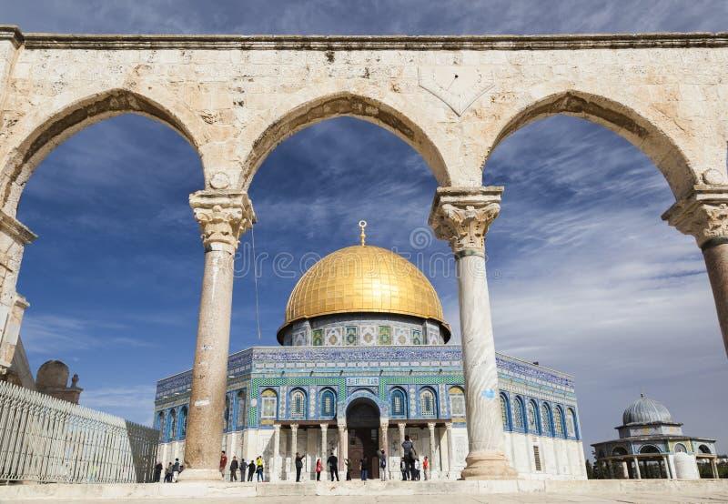 De koepel op de Rots op Tempel zet op jeruzalem israël royalty-vrije stock afbeelding