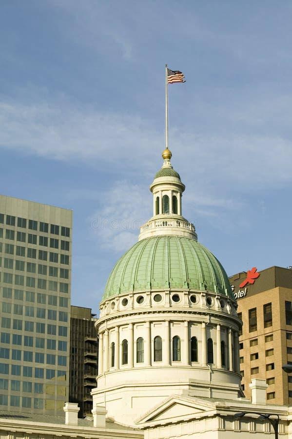 De koepel van Heilige Louis Historical Old Courthouse, Federale Stijlarchitectuur bouwde 1826 en plaats van Dred Scott-slavenbesl royalty-vrije stock fotografie