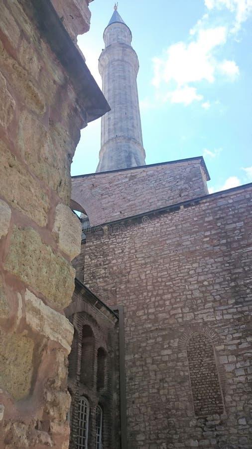 De koepels en de minaretten van Hagiasophia in de oude stad van Istanboel, Turkije, op zonsondergang royalty-vrije stock foto's