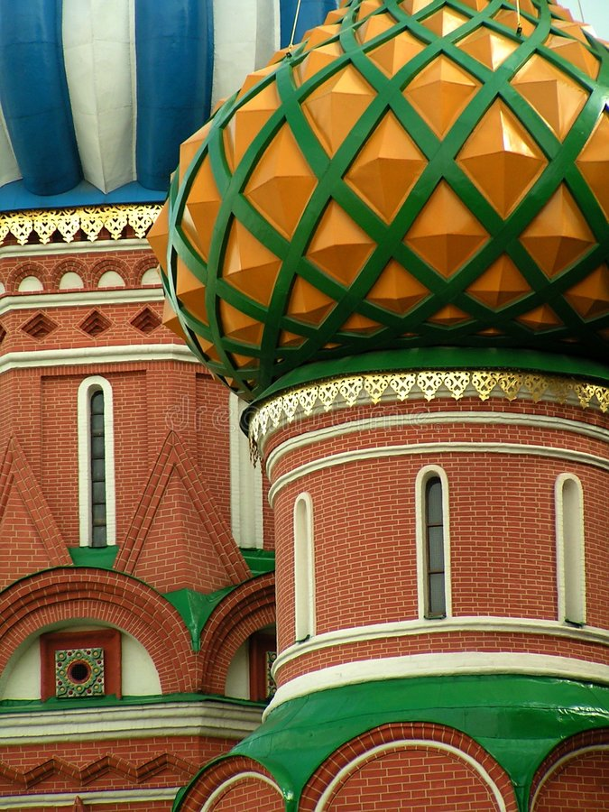 De koepels van de Basilicum van heilige, Moskou, Rusland stock fotografie