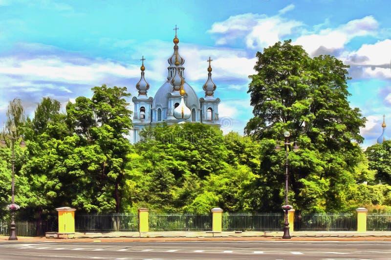 De koepels van de Smolny-Kathedraal onder groene bomen stock illustratie