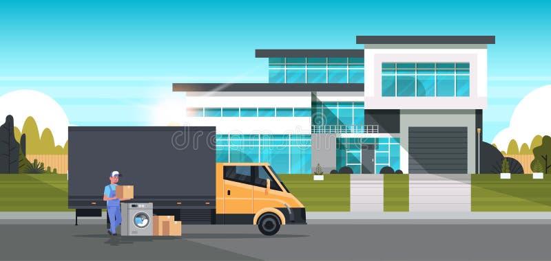 De koeriersmens dichtbij leveringsvrachtwagen met de wasmachine binnenlandse toestellen van kartondozen slaat goederenaankoop op stock illustratie