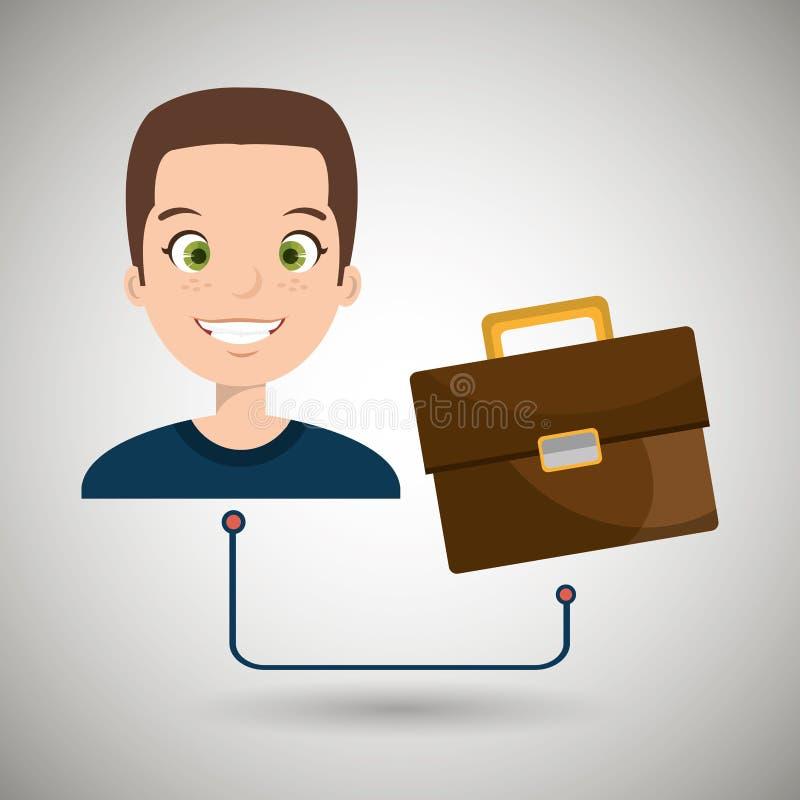 de koffer van het bedrijfs mensenbeeldverhaal portefeuille stock illustratie
