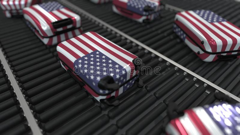 De koffers die vlag van de V.S. kenmerken bewegen zich op de transportband in een luchthaven E royalty-vrije illustratie