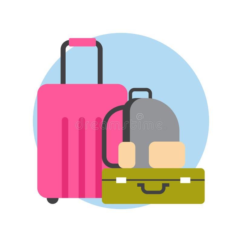 De Koffers en de Zakkenreisbagage van het bagagepictogram vector illustratie