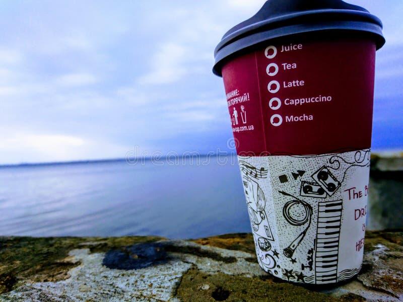 De koffie als levensstijl, geniet van het enkel royalty-vrije stock fotografie