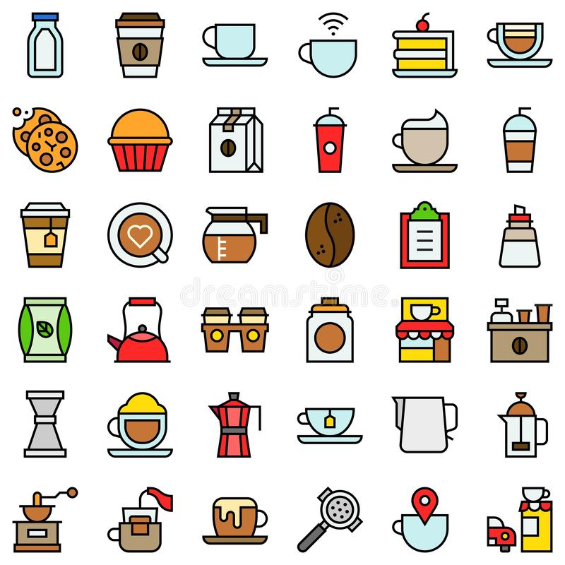 De koffie bracht vectorpictogramreeks, gevuld gerstkorrel editable overzicht met elkaar in verband stock illustratie