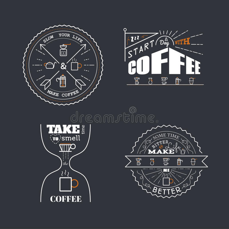 De koffie citeert het Van letters voorzien Kentekenstijl royalty-vrije illustratie