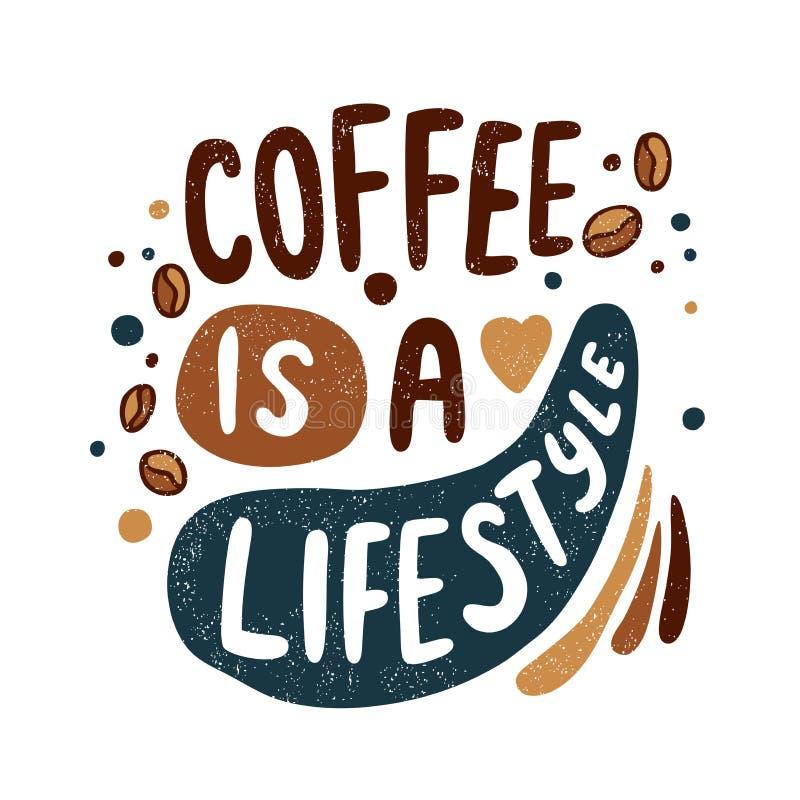 De koffie is een levensstijl Koffiebonen, hart, bellen Ochtendkoffiepauze retro royalty-vrije illustratie