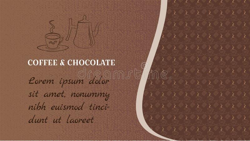 De koffie en de chocolade van het Webscherm Banner voor een blog of een website Met ruimte voor tekst Weefselachtergrond van brui vector illustratie