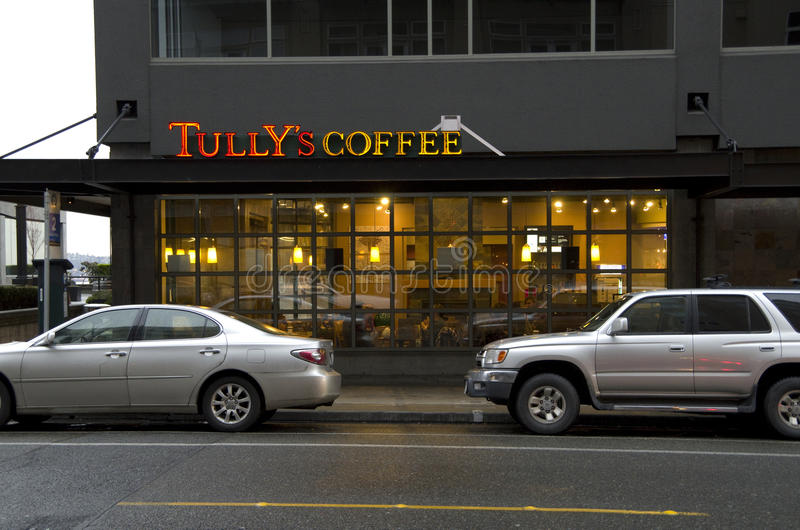 De Koffie Seattle van Tully stock foto's